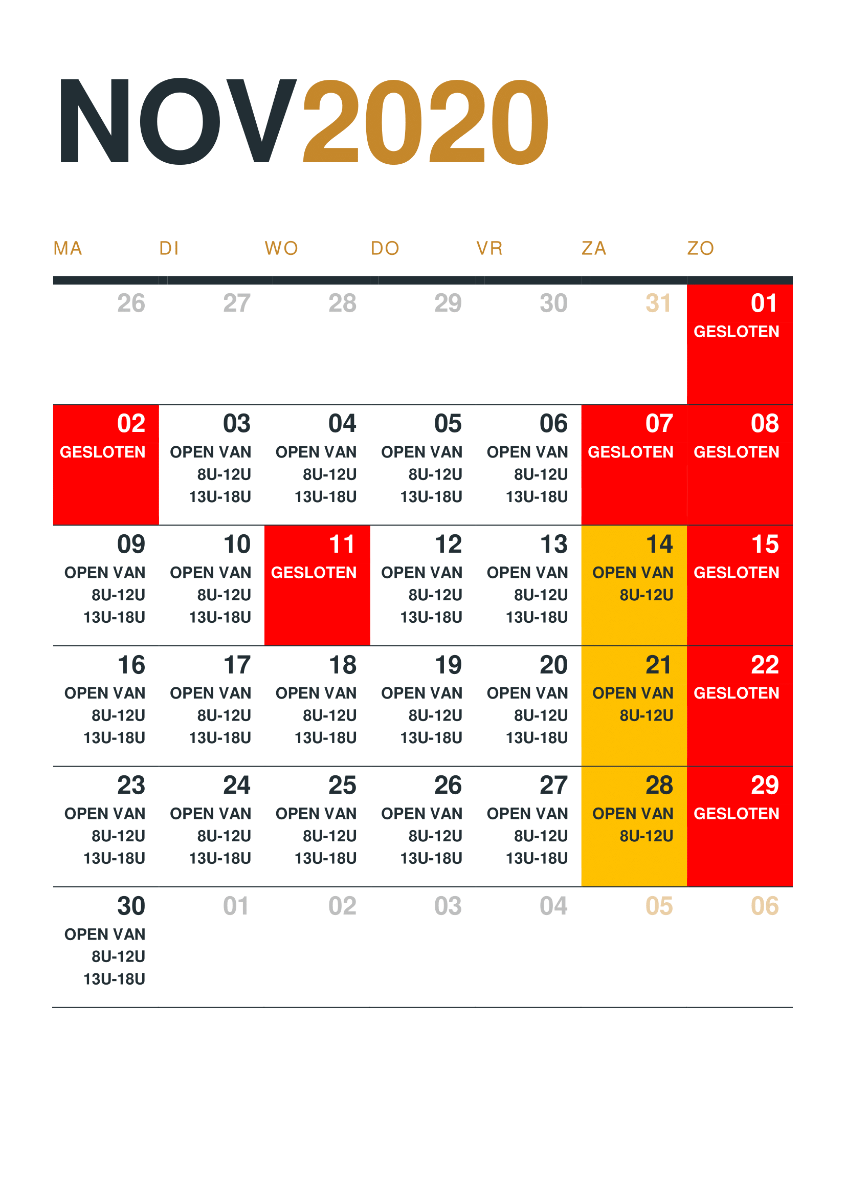 Kalender 2020 - November