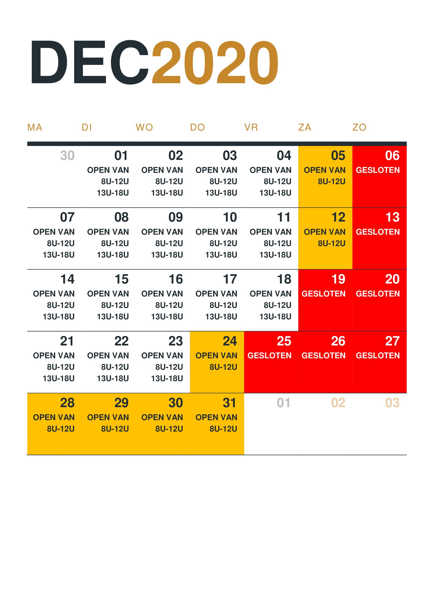 Kalender 2020 - 12 DECEMBER